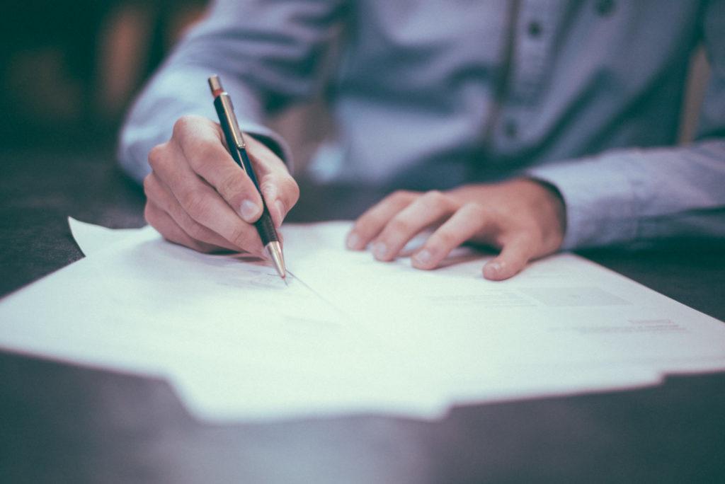 smlouva, tužka, papír